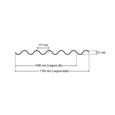 Telha Translúcida Polipropileno Ondulada 2,44 x 1,10m - Perfil 177