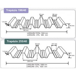 Telha Translúcida Polipropileno Trapézio 6,0 x 1,04 m - Perfil 196/40