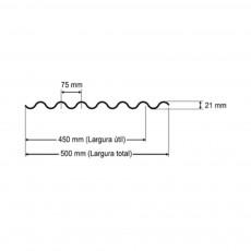 Telha Translúcida Polipropileno Ondulada 2,44 x 0,50m - Perfil 075